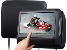 "2x9"" Touch Screen Car Headrest DVD Player Pillow Monitor DVD USB SD IR/FM 32bits Game IR headphones Back Seat DVD(China (Mainland))"