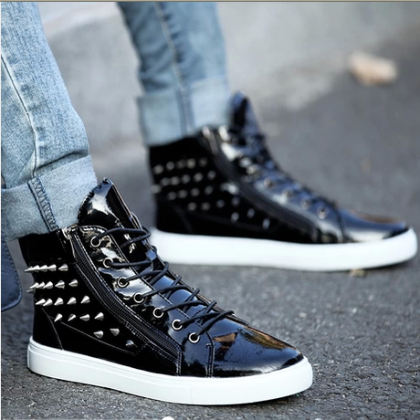 new 2014 men fashion sneakers high top rivet patent leather shoes hip hop shoes breathable heihgt