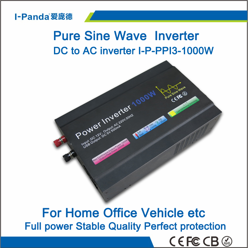 1000W off grid pure sine wave inverter, wind solar power inverter DC12V~110V to AC 110~240V. With with CE RoHS FCC Certificates(China (Mainland))