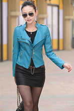 5XL 2015 New fashion Slim Short PU Leather Jacket Women 8 Colors Motorcycle Style Raccoon Fur Collar High Quality Free Shipping(China (Mainland))
