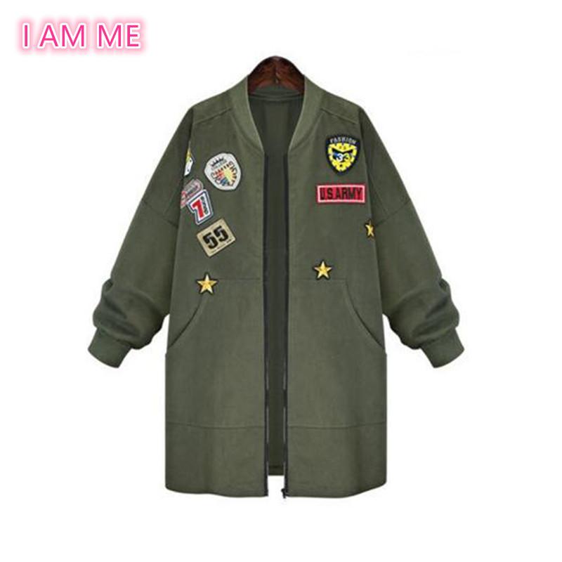Plus Size 5XL Army Green Bomber Jacket Women 2016 New Fashion Patched Badges Long Baseball Uniform Street Trend Windbreaker Coat(China (Mainland))