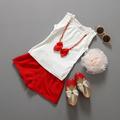 Retail 2016 summer Children girls clothes summer girls set Baby girl Red Sleeveless Vest Skirt set