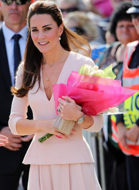 produto Women Spring 2014 Kate Middleton Dress Brand Pink Dress Pleated V-neck Elegant Dress Women Work Wear Vestido Informal 0809
