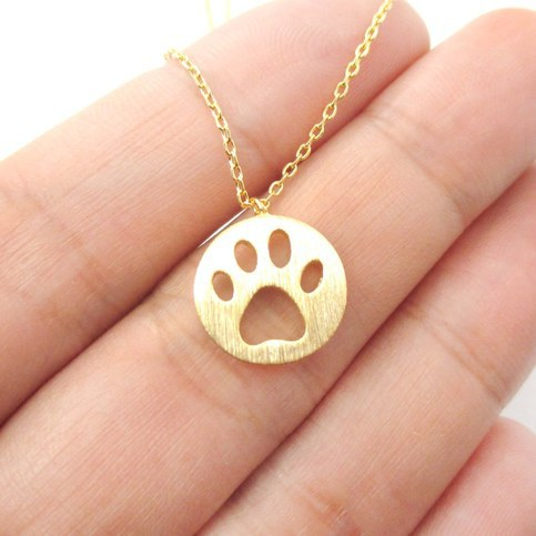 1pc Dog Paw Necklace Print Dye Cut Coin Shaped Animal Charm Pendant in Gold Long Necklace