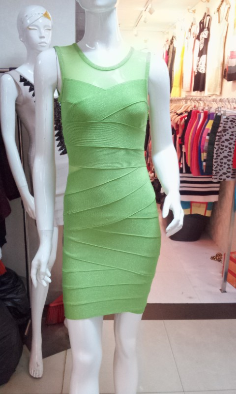 Special offer Promotions Green stretch knit Tight fashion Cocktail party Bandage dress(China (Mainland))