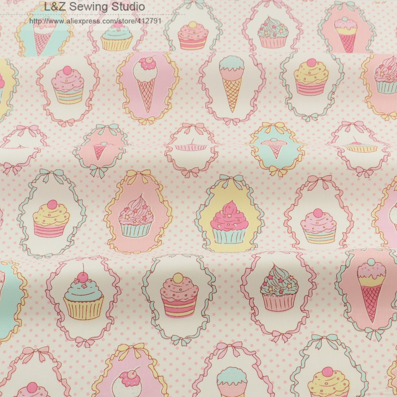 Icing On Fabric: 100% Cotton Fabric Patchwork Tissue Ice Cream Designs