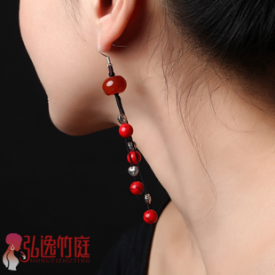 Accessories national trend gift natural agate long design vintage tassel earrings earring