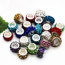 Buy 12mm Silver Cord Big Hole Rhinestone Loose Beads Fit European Jewelry Bracelet Charms DIY 100pcs/lot for $8.17 in AliExpress store