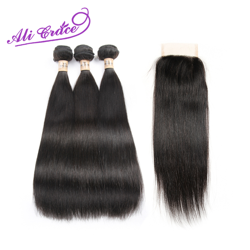 Ali Grace Hair Products Peruvian Virgin Hair Straight With Closure 3 Bundles with Closure Peruvian Straight Hair with Closure