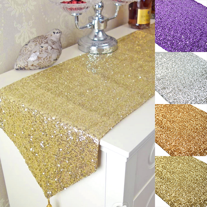 11.8 x 108 inch Wedding Gold Table Runners Party Table Runner Home Sequin Table Runner Decoration Casamento For Wedding Mariage(China (Mainland))