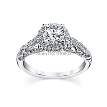 Luxury Royal Lace 9K White Gold Diamond Engagement Ring Setting Center 1 Carat Lab Grown Diamond Halo Wedding Rings For Women(China (Mainland))