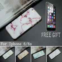 10 Pcs/lot Phone Cases Marble Stone Image Painted Cover Mobile Soft TPU Case & New Screen Protector For Iphone 6 6s 4.7″ Case