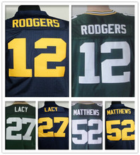 100% Stitiched Green Bay # 12 Aaron Rodgers jersey authentique # 27 Eddie Lacy jersey Packers elite # 52 Clay Matthews jersey(China (Mainland))