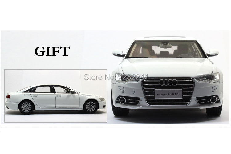 White Color Free Shipping diecast model Dealer 1:18 High quality car Model China VW Audi A6L Sedan 2012 Toys Gift for Children(China (Mainland))