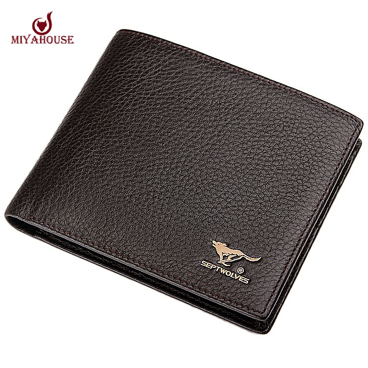 2015 Septwolves Genuine Leather Fashion Men's Wallet Male Short Design Cowhide Leather Wallet for Men Purse Casual Card Holder(China (Mainland))