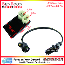 GY6 50cc 150cc 4+2 PIn A/C CDI and Ignition Coil Chinese Scooter Parts ATV Parts Znen Baotian Taotao Baja Romet, Free Shipping