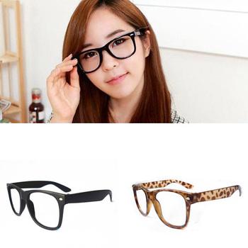 1Pcs New Fashion Style Women Retro Glossy Lady Girl Big Clear Lens Black Frame Large Eye Glasses Frame
