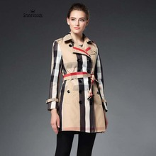 Real Photo High Quality Designer Brand Burb Women British Genuine Leather Buckle Double Breasted Womens Trench Coat Trench Coats(China (Mainland))