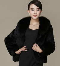 2015 Autumn winter women fur coat black large fur collar long-sleeve mink hair design short outerwear Plus sizes S-5XL(China (Mainland))
