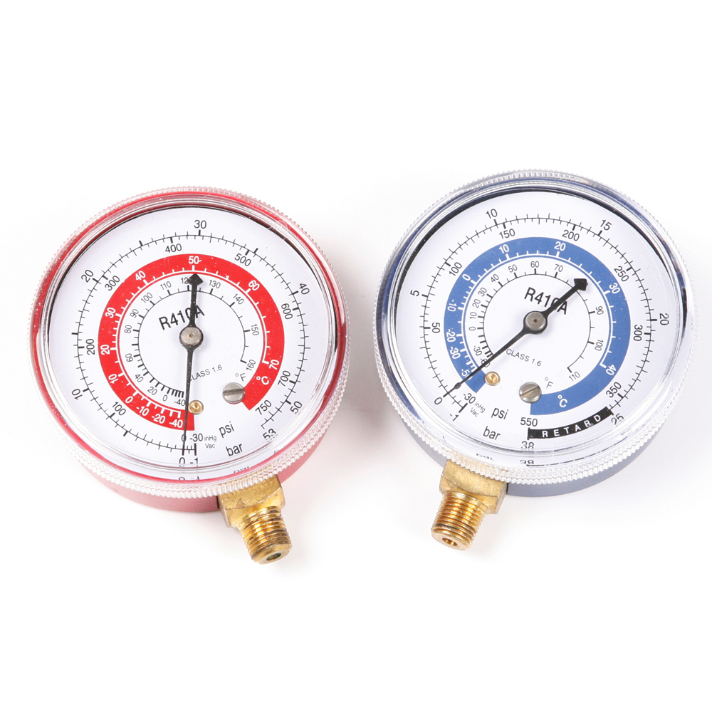 2pics Air Conditioner R410A R134A R22 Refrigerant Low&High Pressure Brass Manifold Gauge PSI KPA(China (Mainland))