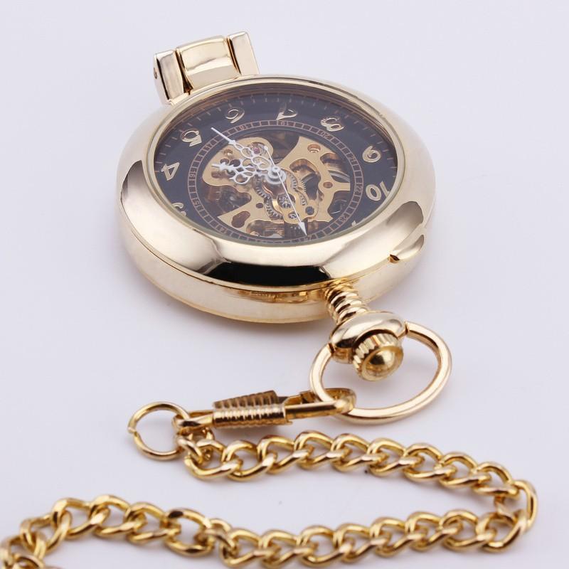 Orkina классический ретро королевский скелет карманные часы большое число резные чехол прозрачное стекло крышки ручной механическая подвеска 14