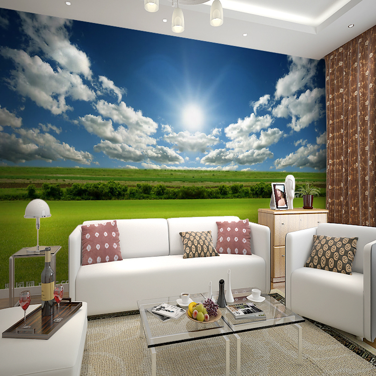 Custom murals wallpaper bedroom living room sofa tv for Blue and white bedroom wallpaper