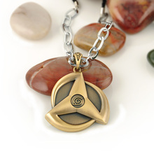 Japan Anime Naruto Kakashi write round eyes Pendant  Weave Necklaces Chain&Rope Splicing Metal Necklace Fashion Jewelry