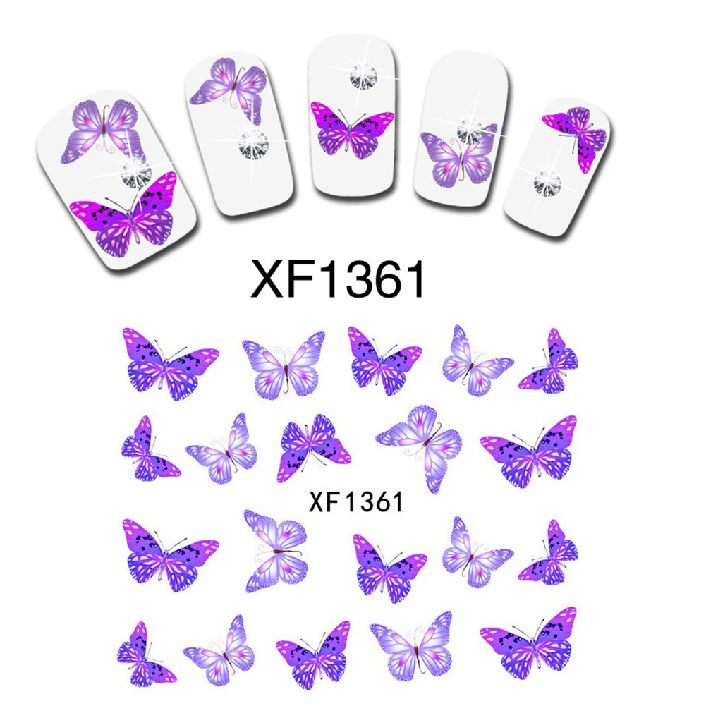 Гаджет  Fantastic Purple Butterfly Nail Art Nail Manicure Decals Water Transfer Stickers Manicure 1 Sheet XF1361 None Красота и здоровье