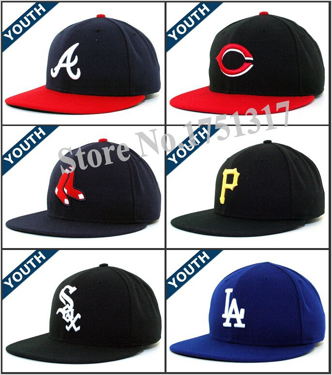 New Arrival Youth Fitted Hats Chapeau Kids Baseball Flat Full Closed Caps For Boys and Girls Size: 63/8, 61/2 ,65/8, 63/4, 67/8(China (Mainland))