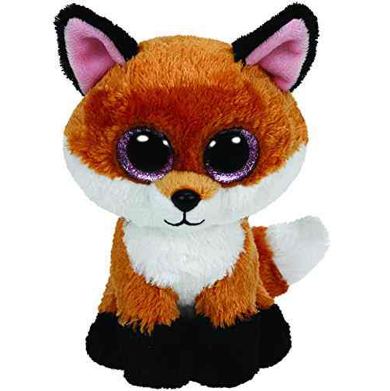 2015 Ty Beanie Boos Big Eyed Stuffed Animal Brown Slick Fox Plush Doll Kids Toy 6' Birthday Gift Good Quality Soft Big Eyes L02