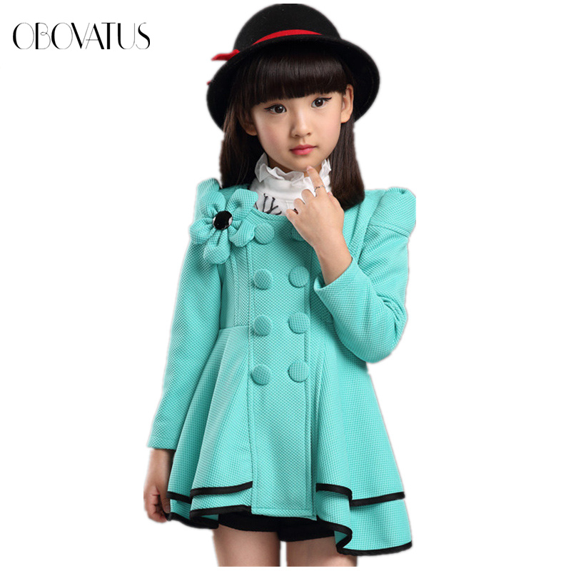 New style fashion kids baby trench coat for girl long winter coat with flower princess autumn jacket attractive design(China (Mainland))