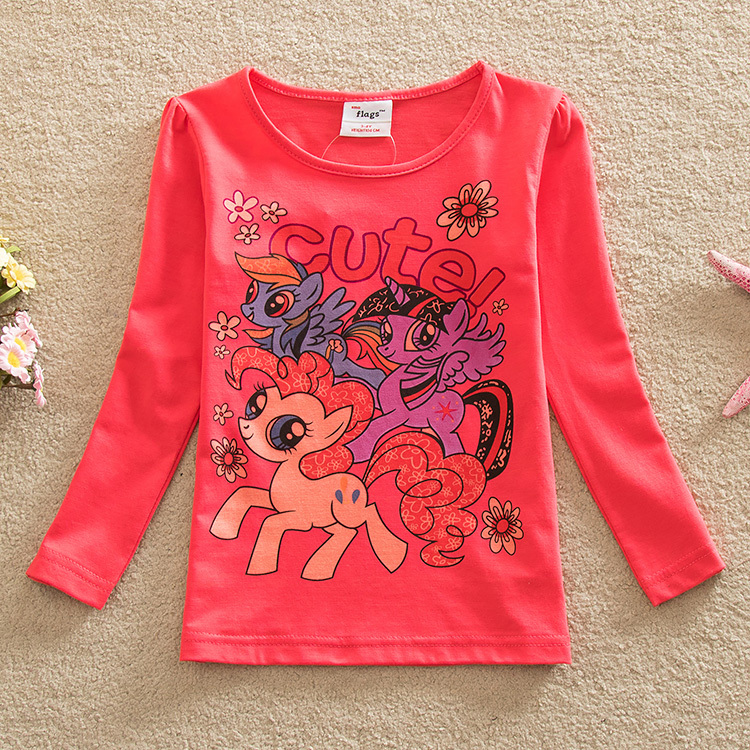 5pcs/lot! 2015 new style stylish and comfortable lovely My Little-Pony pattern 100% cotton girls long-sleeved t shirts pd1118<br><br>Aliexpress
