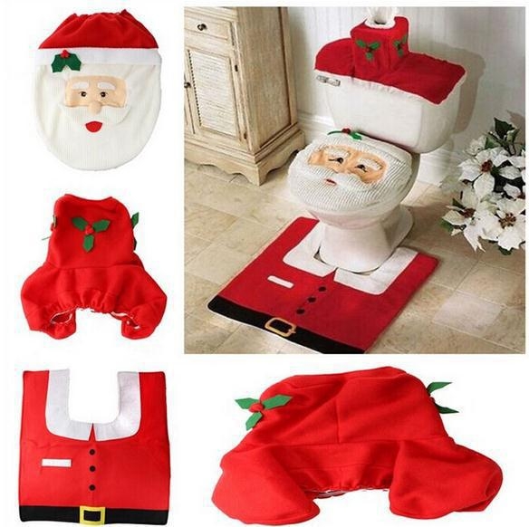 christmas products supplies decorations items Santa claus Toilet Seat Cover Bathroom Set ornaments enfeites de natal papai noel(China (Mainland))