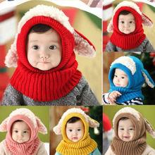 Winter Baby Kids Girls Boys Winter Warm Woolen Coif Hood Scarf Scarves Caps Hats(China (Mainland))