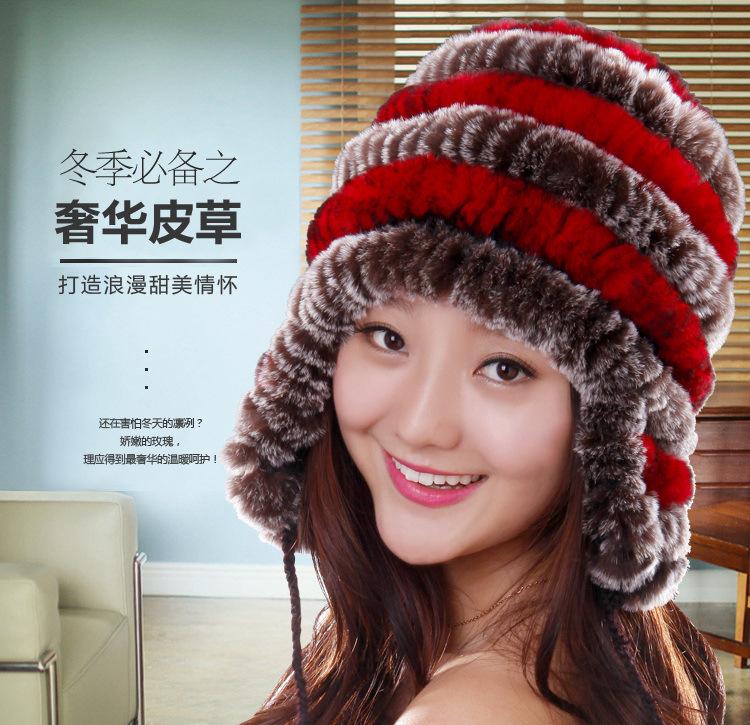 Winter Cute New Real knitted REX rabbit fur hat Beanie cap ear muff warmer head wamer balls -1044 - Easy Life House store