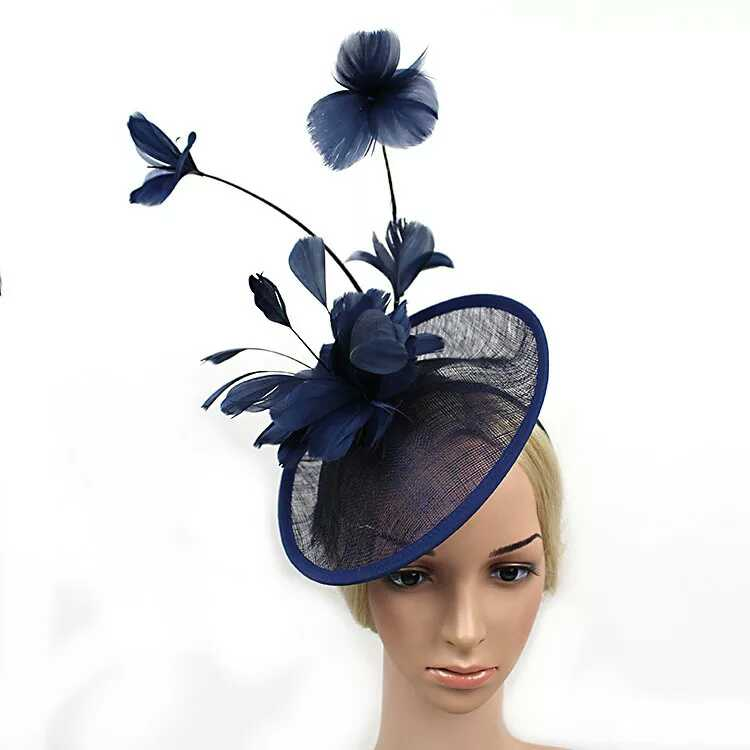 2016 Newest Women Formal Cocktail Sinamay Fascinator Wedding Hat Prom Large Feather Flower Fascinator Headband Hat Pattern(China (Mainland))