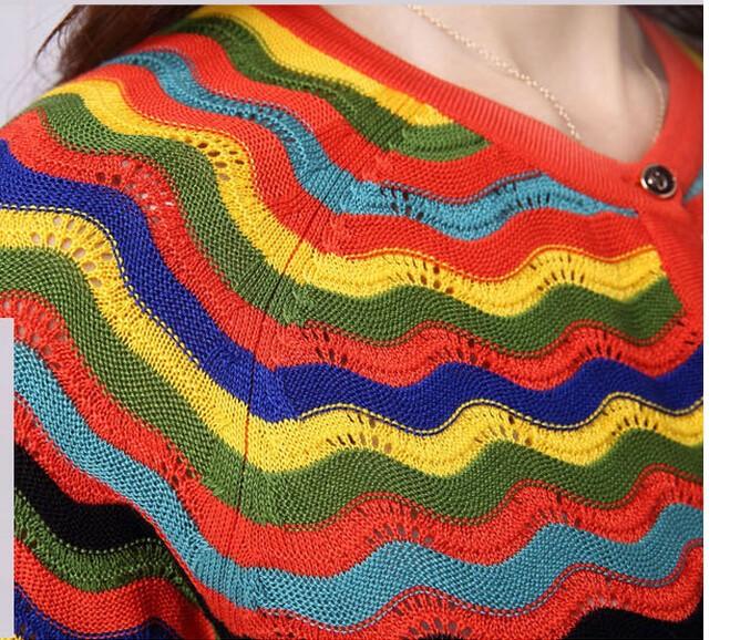 Осень 2016 новых корейских женщин полосатый вязать кардиган, Большой размер женщина свитера и кардиганы негабаритных свитер sml XL XXL XXXL