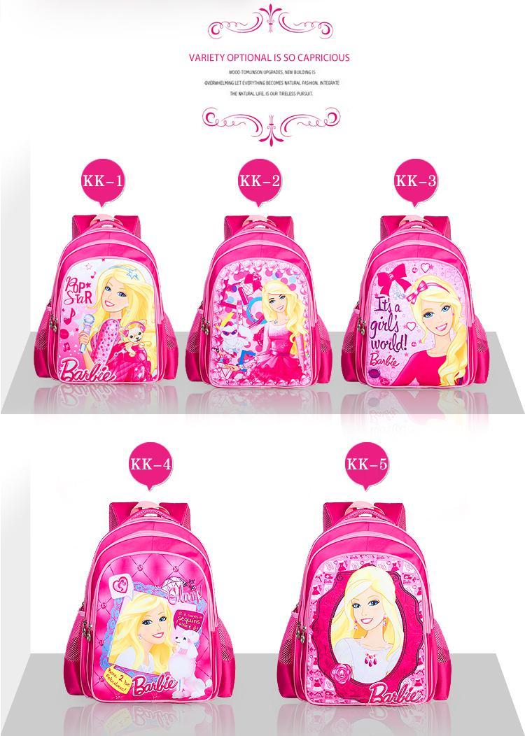 2015 Hot Kids Backpack Princess Barbie First School Bags Satchel Mochila 3D Cartoon Orthopedic Children School Bags For Girls(China (Mainland))