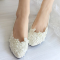 pearl lace wedding shoes white handmade bridal bridesmaid shoes women flats heel low single shoes ladies