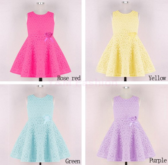 Brand New Tank Baby Girl Dress Summer Style Girl Lace Dress 2015 Fashion Kids Clothes Sleeveless Girl Dress vestidos infantis(China (Mainland))