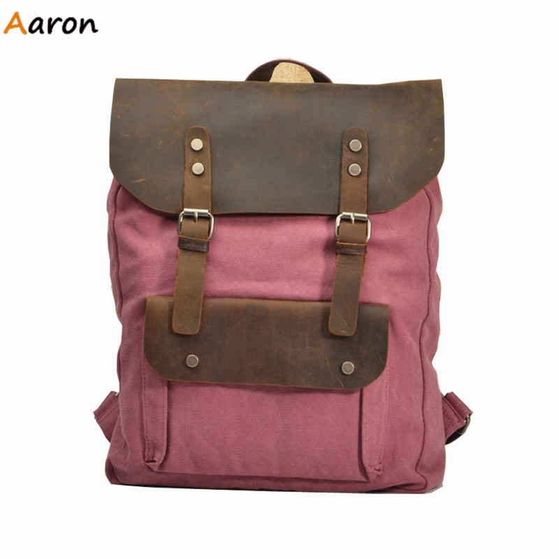 Aaron - Retro British Stylish Backpacks For College,Fashion Genuine Leather &amp; Canvas Teenage Girl Backpack,Casual Large Capacity<br><br>Aliexpress