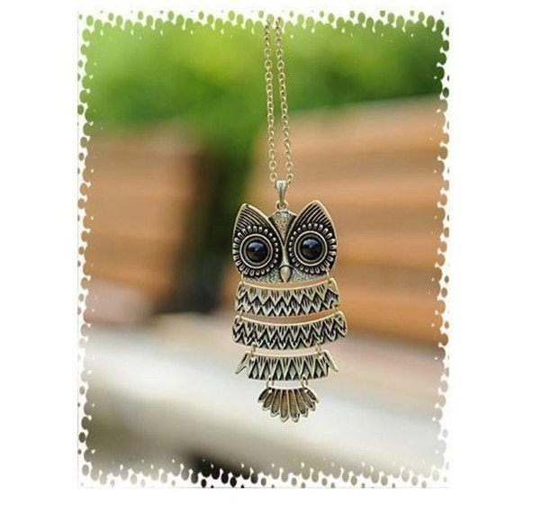 Sunshine vintage owl pendant owl necklace X091