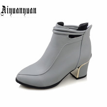 2017 Sweet shoes style lady ankle boots EUR Size 39 40 41 42 43 44 45 46 47 48 pointed toe design PU leather pumps - LUKU CO. Store store
