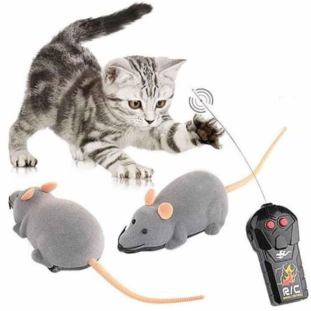 2016 Newest Cat Toys Upgraded Remote Control Wireless Simulation Plush Mouse RC Electronic Rat Mouse Mice Toy For Pet Cat Toy(China (Mainland))