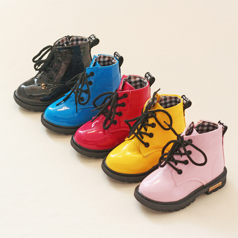 Hot sale Children Shoes PU Leather Waterproof Martin Boots Kids Snow Boots Brand Boys Rubber Boots Fashion Girls Sneakers