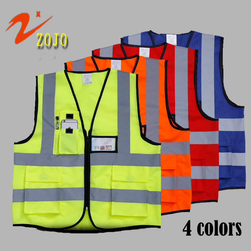 Famous Brand ZOJO Vest Safety Clothing 4colors Workplace Safety Supplies Outdoor Cycling Jacket Reflective Safety Vest V025(China (Mainland))