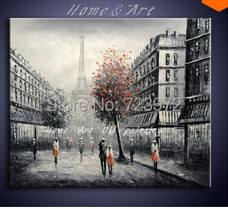 Handpainted OilPainting Black and white Red Eiffel Pari France City Landscape Painting Modern Home Decoration Art Wall Picture28(China (Mainland))