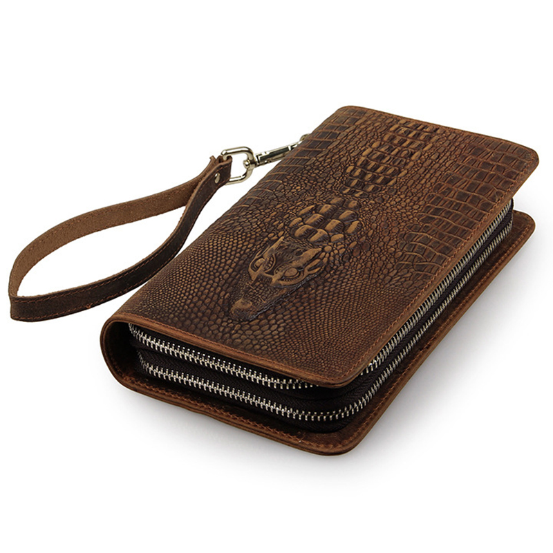 designer male wallets 4czv  Designer Famous Brand Luxury Crocodile Pattern Purse Cow Leather Portfel Men  Long Wallet Man Bag Carteras Male Card Holder