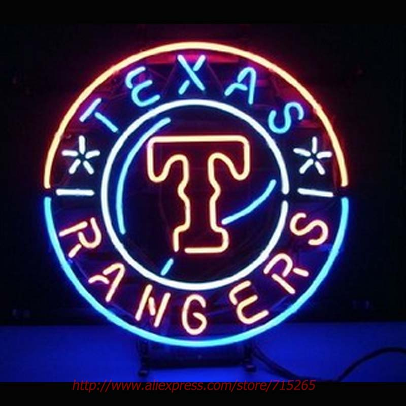 Texas Rangers Baseball Neon Sign Neon Bulbs Led Sign Real Glass Tube Room Restaurant Hotel Decorative Store Display Attract19x19(China (Mainland))