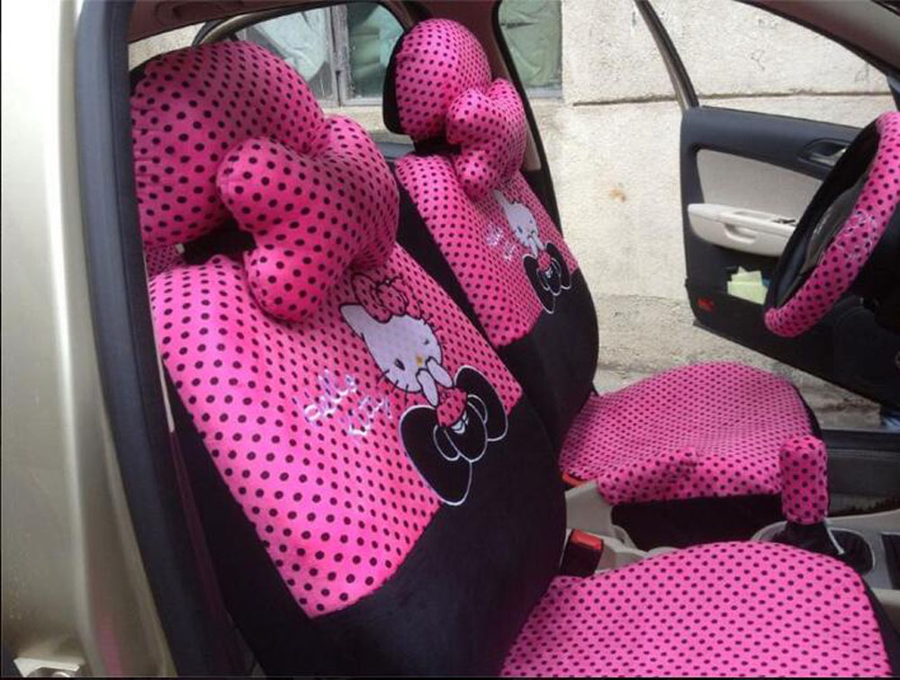 1set 100% Real shot points pink hello kitty cartoon car seat cover universal seat covers Four Seasons General(China (Mainland))